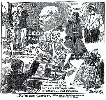 "Viennese newspaper illustration for ""Rosen aus Florida""."