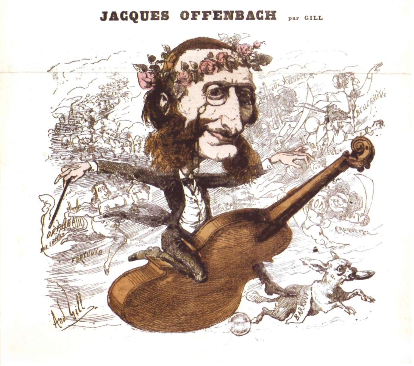 Jacques Offenbach riding his success, a caricature from a Paris newspaper.