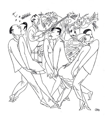 Caricature by Karl Arnold showing the new dances of the 1920s.