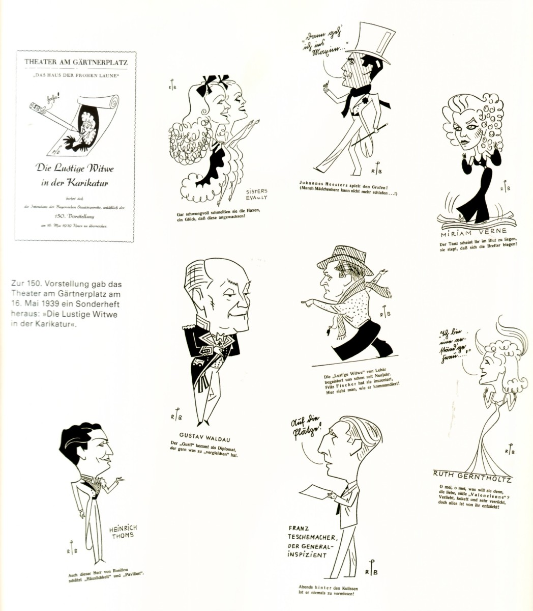 "The ""Merry Widow"" in Munich, 1938, production by Fritz Fischer. A page from the program booklet."