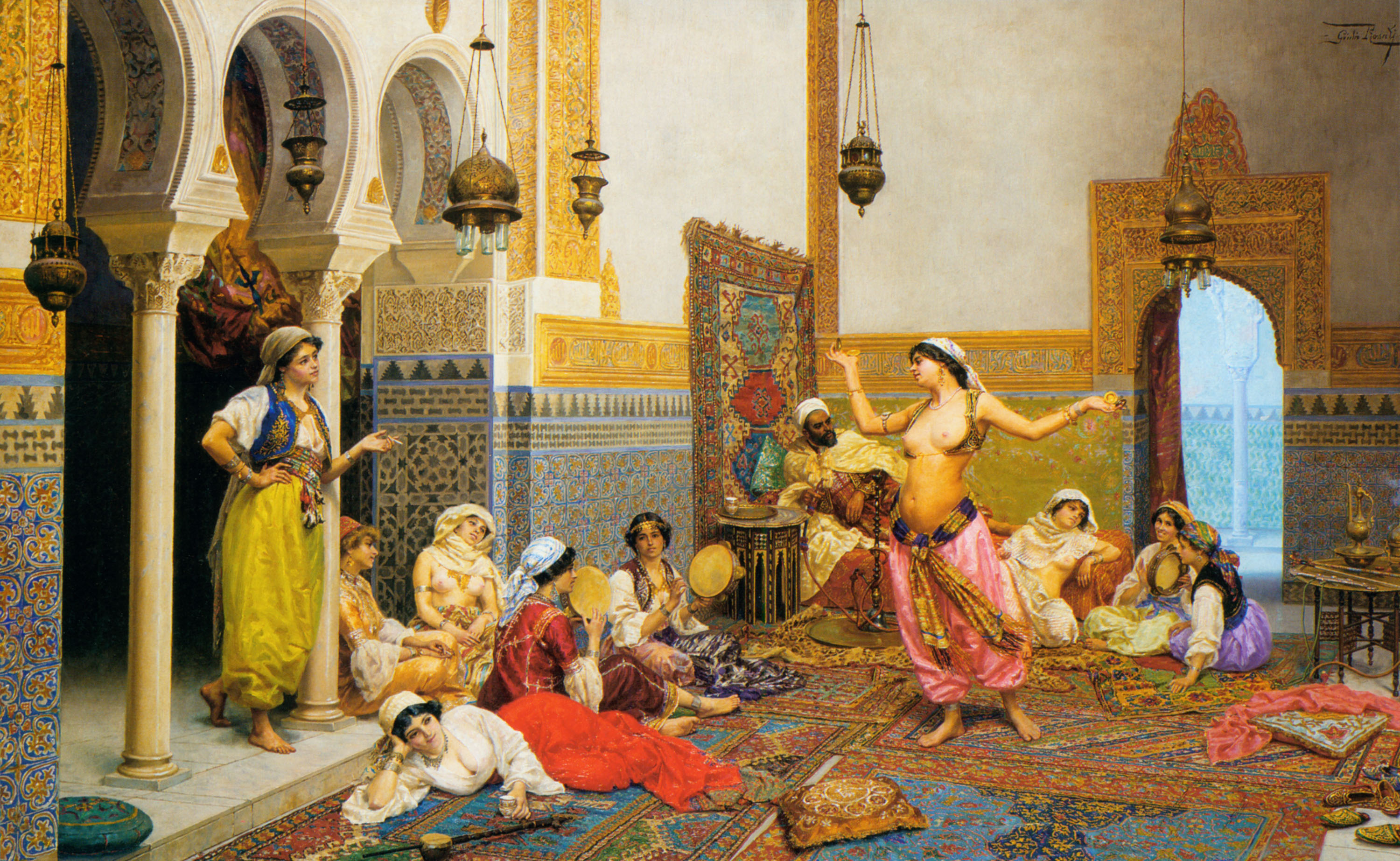 The harem dance, oil on canvas, by Giulio Rosati.