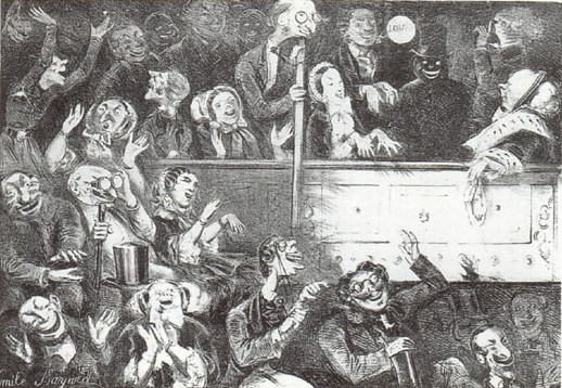 Charicature of Offenbach's stage, the Théâtre des Bouffes-Parisiens.
