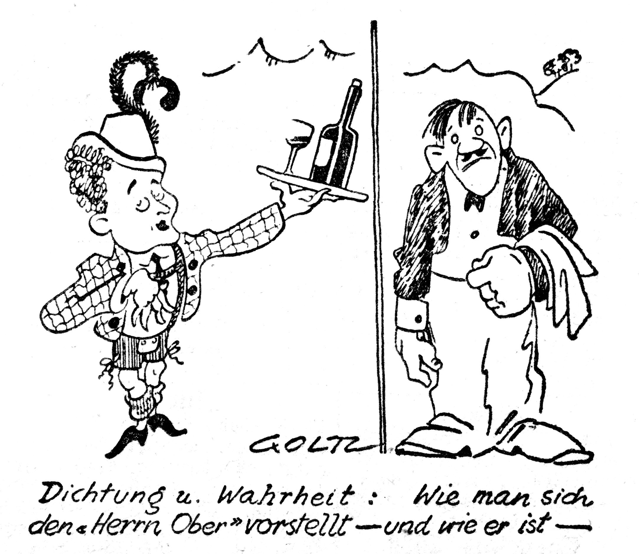 "Newspaper drawing of Max Hansen (l.) as head waiter Leopold in ""Im weißen Rössl"" as opposed to how a 'real' White Horse Inn waiter looks; Berlin 1930. (Photo: Operetta Research Center)"