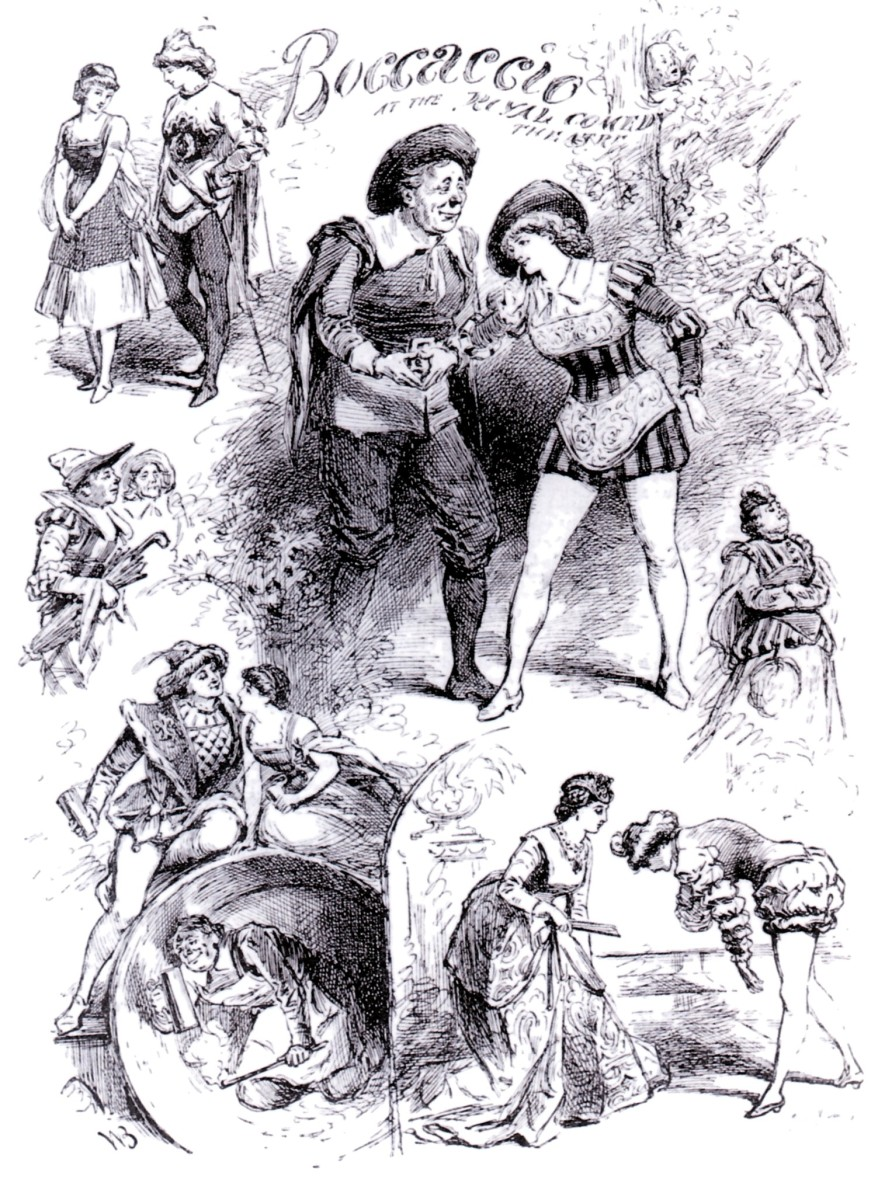"Poster for a ""Boccaccio"" production in London, 1882."