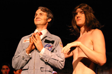 "Jesse Merlin as President Dodgeson and John Quale as Jesus, in ""The Beastly Bombing"", LA 2006. (Photo: Jodi Wille)"