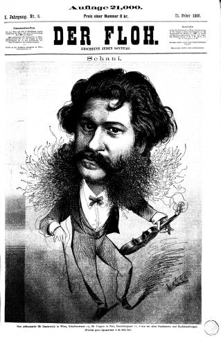 "Johann Strauss, as seen by the Viennese newspaper ""Der Floh"" in 1869."
