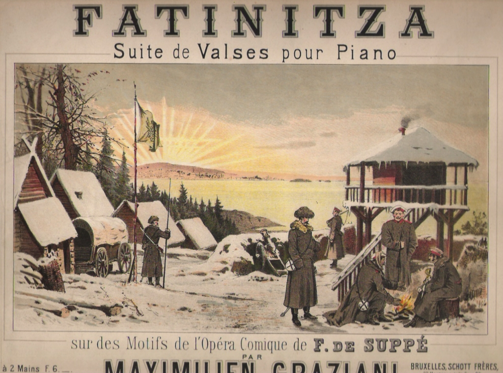 "Sheet music cover art for ""Fatinitza""."