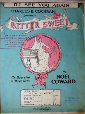 "Sheet music from ""Bitter Sweet""."