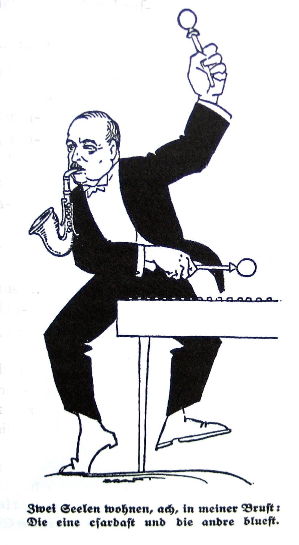 "Caricature of Emmerich Kalman, ""jazzing"" it up in 1928."