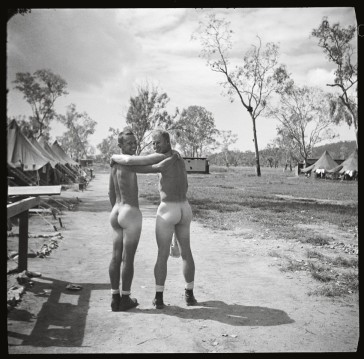 "Two WW2 soldiers showing off their butts, in ""My Buddy"" (Taschen Books)."