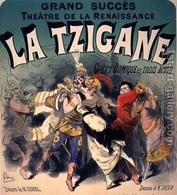 "A poster advertising the original French adaptation of ""Die Fledermaus"" starring Zulmar Bouffar."