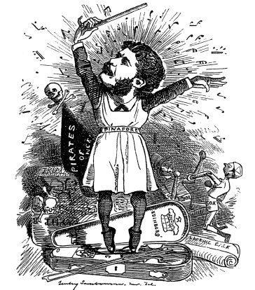 "Sullivan being granted his knighthood. Cartoon from ""Punch""."