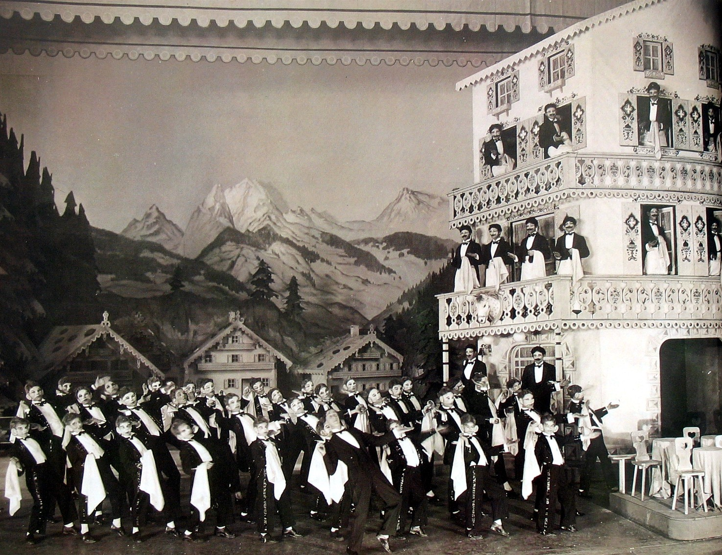 Waiters on parade: the grand marching scene from London, 1931.