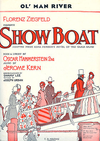 "Sheet music cover for ""Show Boat""."