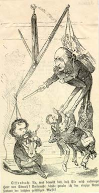 "Johann Strauss ""out-weighing"" Jacques Offenbach: a Viennese newspaper caricature from the 1870s."