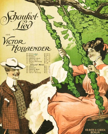 "Sheet music cover for the Hollaender hit ""Die Kirschen in Nachbars Garten""."