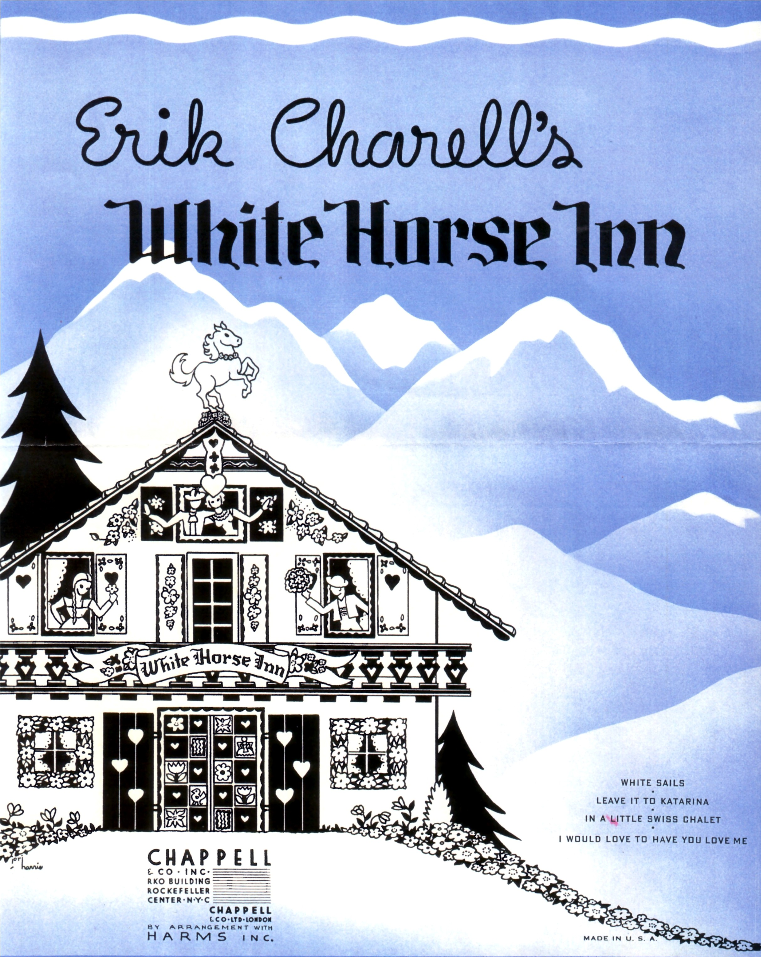 "Sheet music cover from the New York production of ""White Horse Inn""."