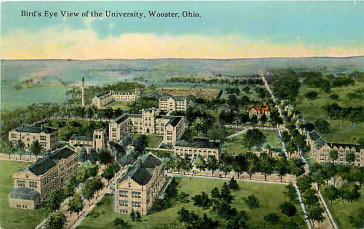 The College of Wooster, as seen on a historic postcard. This is where the Ohio Light Opera Festival will take place, as well as the operetta conference.