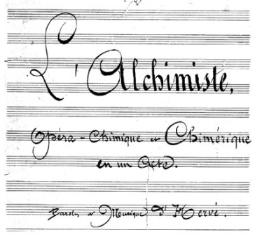 "A page of the score of ""L'Alchimiste""."