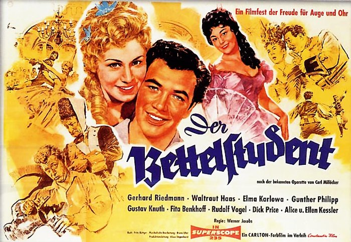 "Poster for the 1956 film version of ""Der Bettelstudent""."