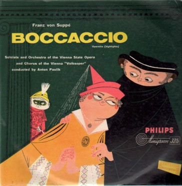 "A typical post-WW2 LP version of ""Boccaccio"" from the Voilksoper Wien, conducted by Anton Paulik."