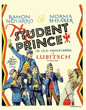 "Poster for the first film version of ""The Student Prince"", directed by Ernst Lubitsch in 1927."