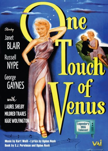 "The DVD cover of the 1955 NBC broadcast of ""One Touch of Venus""."