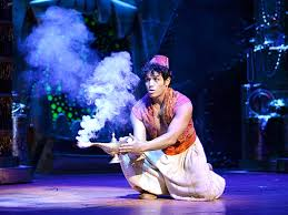 "When you rub too hard.... you get this. A scene from the Broadway version of ""Aladdin"", 2014."