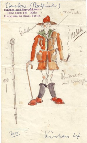 "Costume design for Wilhelm Bendow,for die Charell production ""An Alle"", Berlin 1924. (Photo: Theaterwissenschaftliche Sammlung Schloss Wahn/Operetta Research Center Archive)"