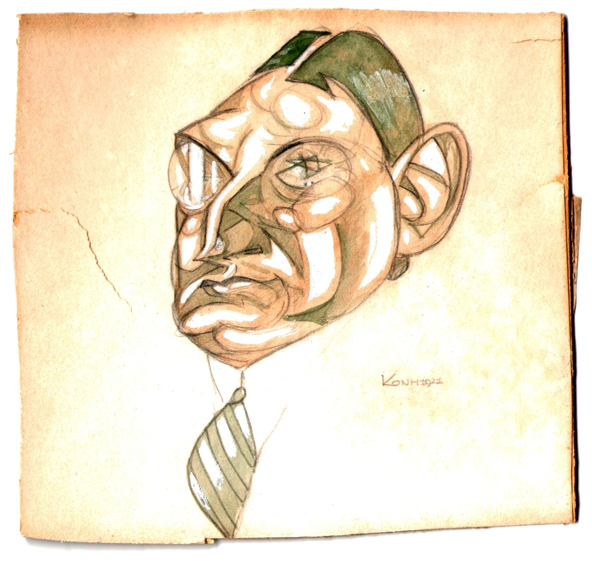 "A caricature of Benatzky from the 1920s, with a ""Jewish Star"" in his eye. (Photo: Archive of the Operetta Research Center.)"
