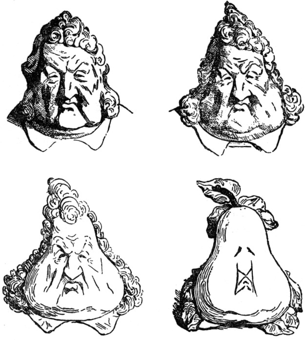 The famous 1831 caricature of Louis Philippe turning into a pear would mirror the deterioration of his popularity. (Honoré Daumier, after Charles Philipon, who was jailed for the original.)