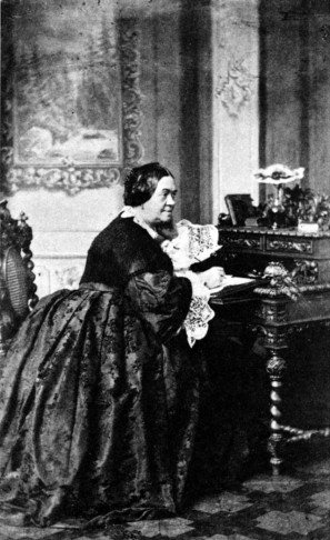 Charlotte Birch-Pfeiffer at her writing desk, 1850.