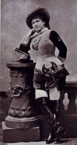 "Marie Geistinger as a cross-dressing ""Bettelstudent""."