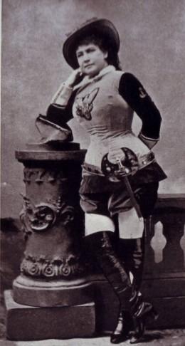 """Marie Geistinger as a cross-dressing """"Bettelstudent""""."""