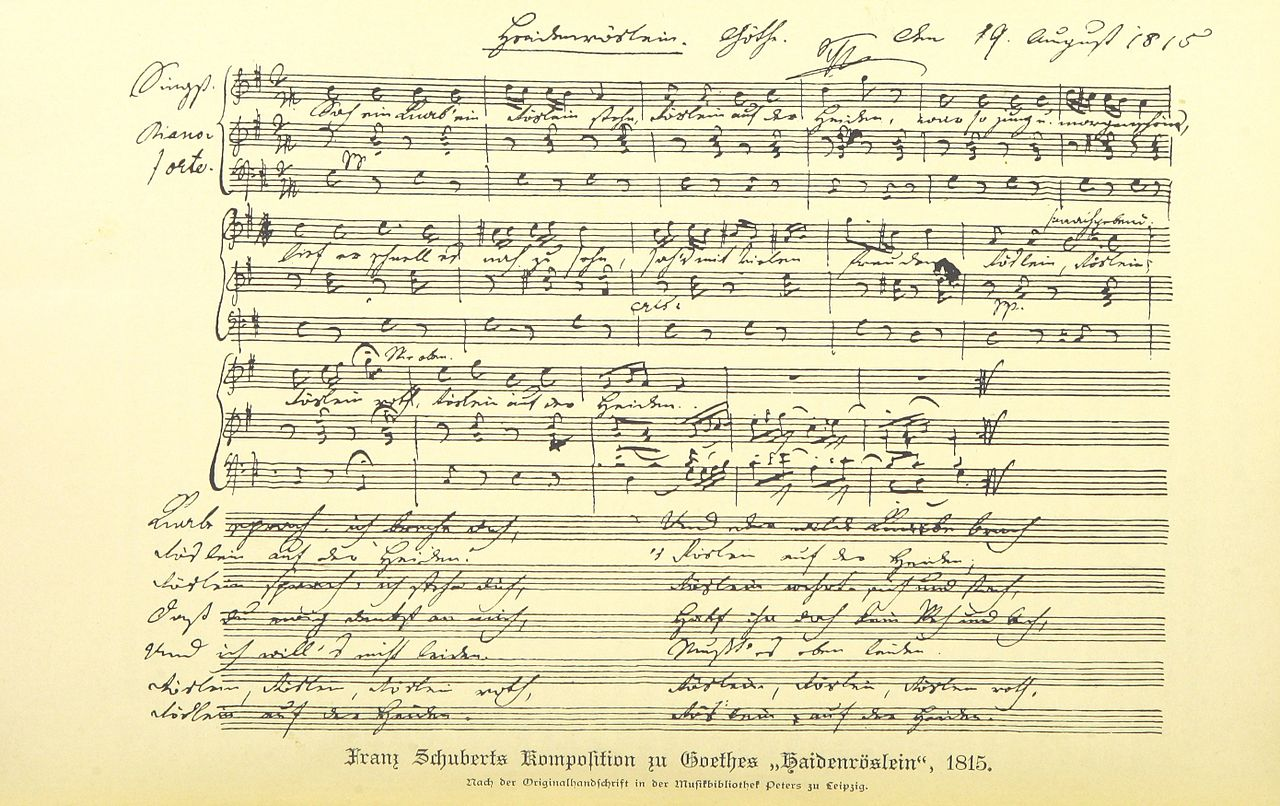 "Franz Schubert's famous version of the ""Heideröslein"", 1815."