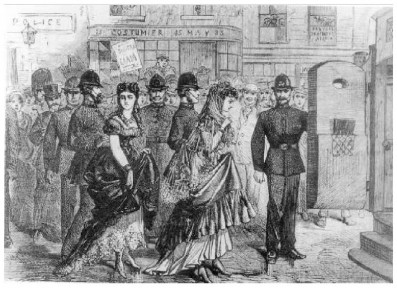 Lady Stella and Miss Fanny being escorted to the dock in 1870.