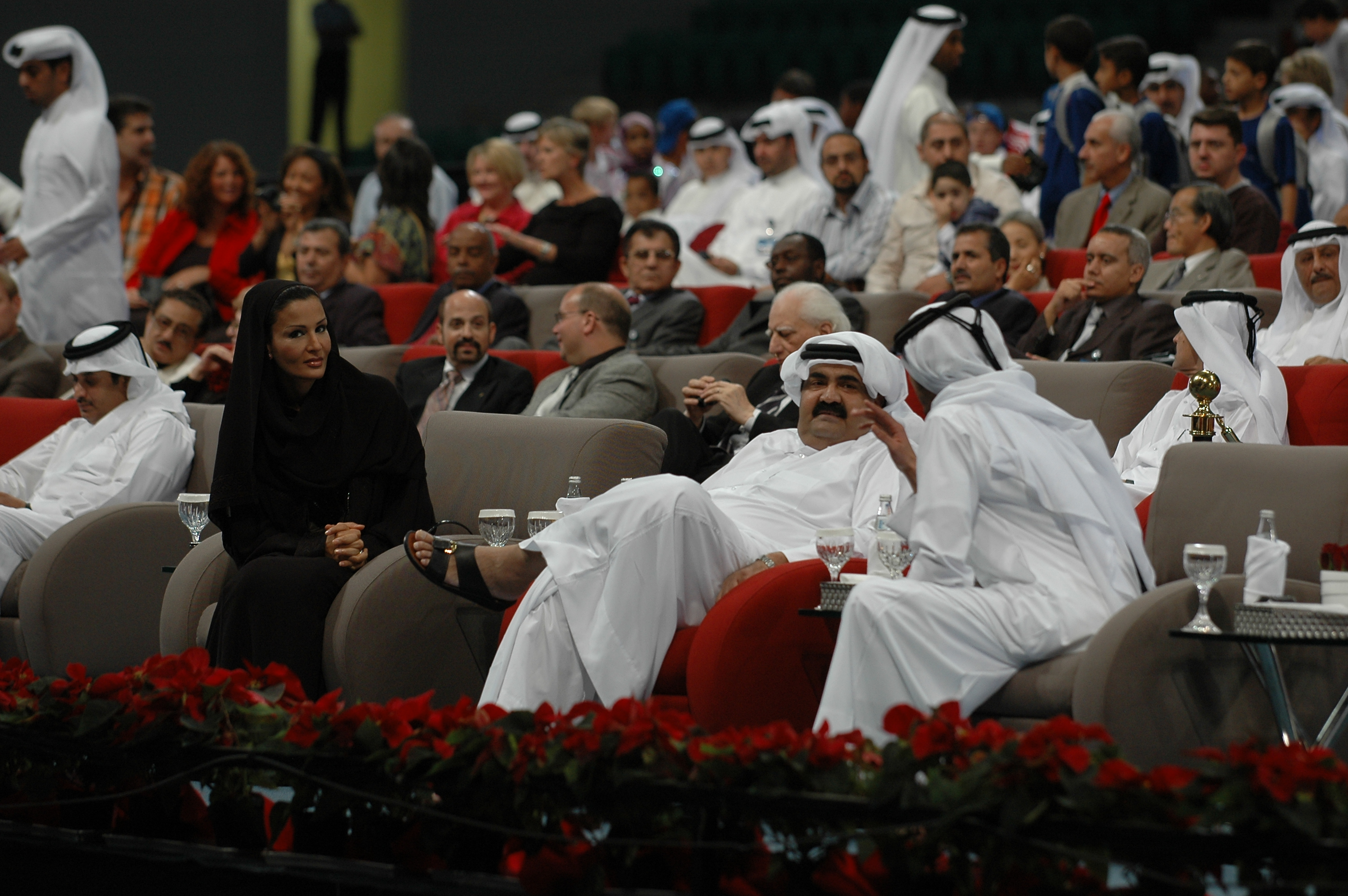 Opening night in Qatar, with the Emir and his wife.