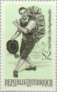 "Austrian postal stamp with the ""Vogelhändler""."