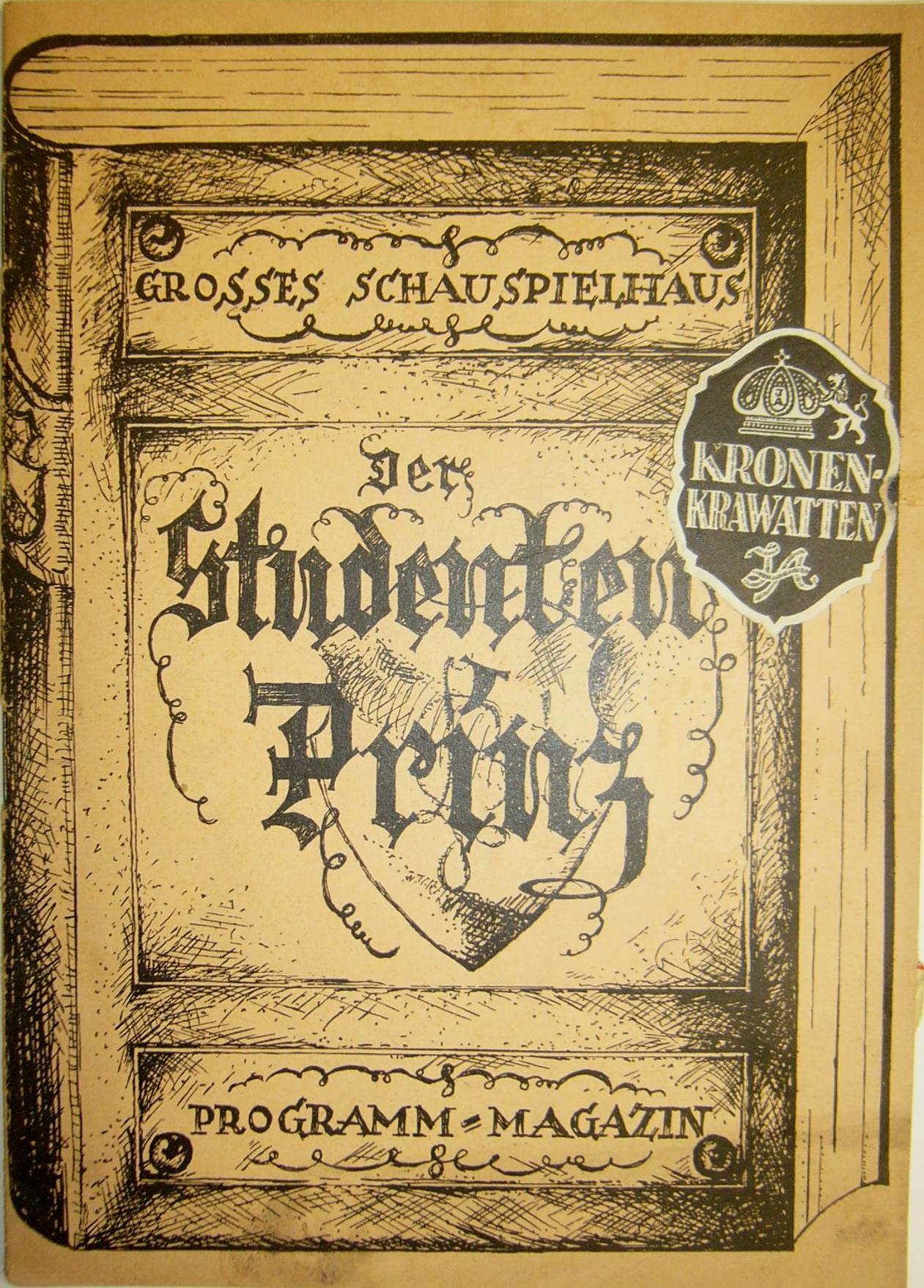 "Program book of the 1932 Berlin production of ""Student Prince"" at the Großes Schauspielhaus."