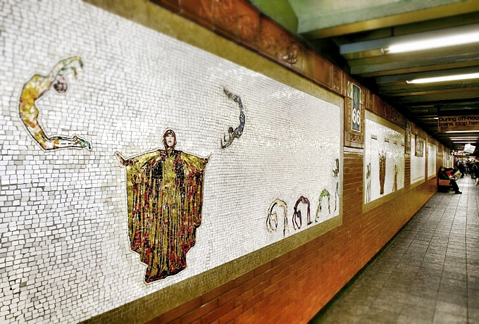 "Nancy Spero dazzling mosaic for the New York subway, called ""The Diva,"" clearly a depiction of Massary in one of her costumes for ""Perlen der Cleopatra."""