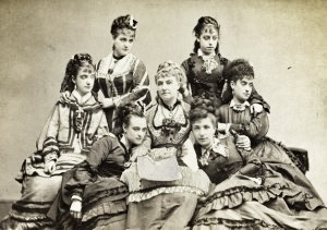 "Lydia Thompson, surrounded by her troupe of ""British Blondes."""