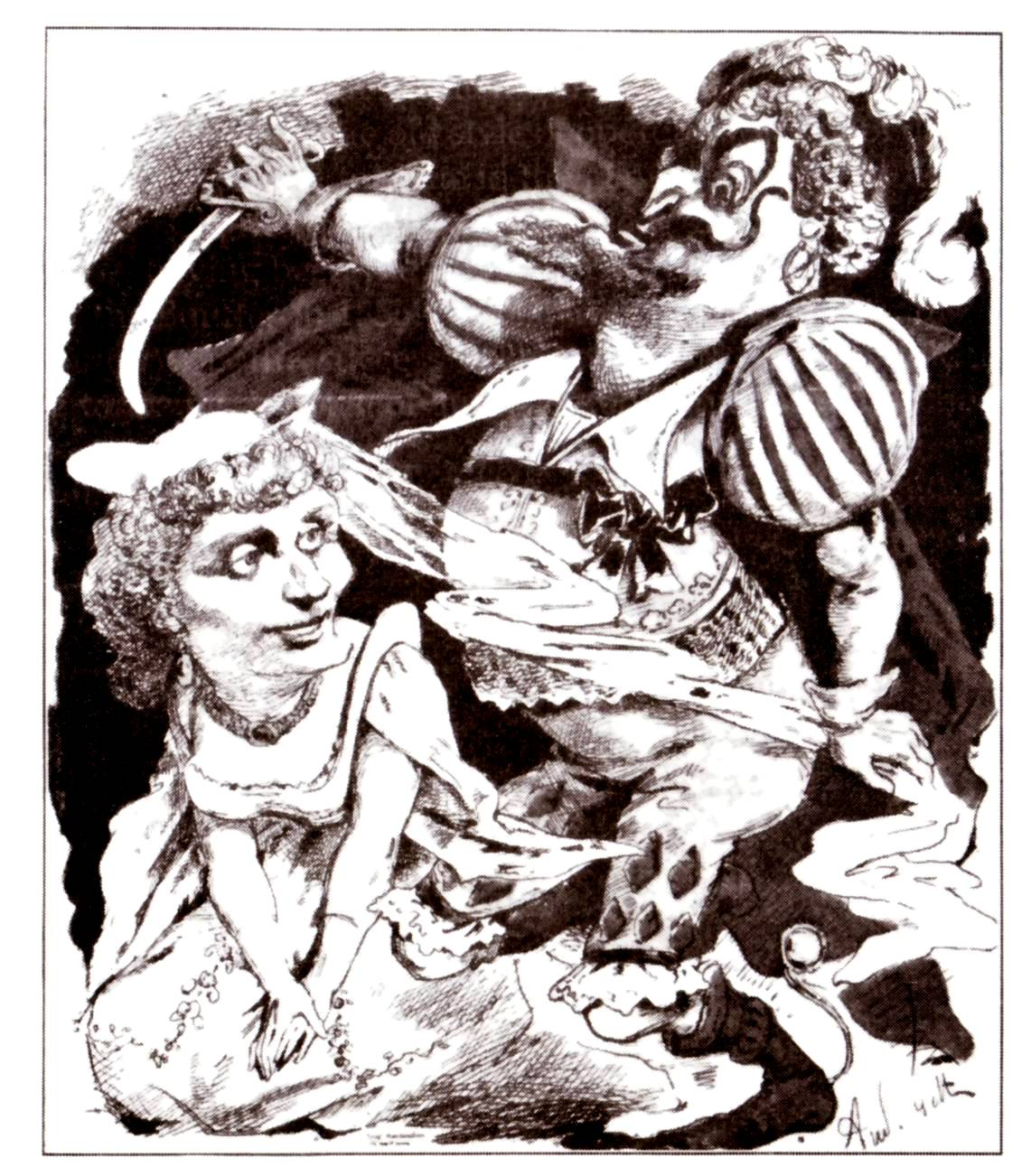 "The original stars of ""Barbe-bleue"": Hortense Schneider and the tenor Dupuis, caricature by Gill in ""L'Eclipse."""