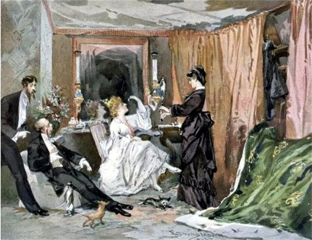 """The Dressing Room of Hortense Schneider,"" 1873. Painting by Edmond Morin."