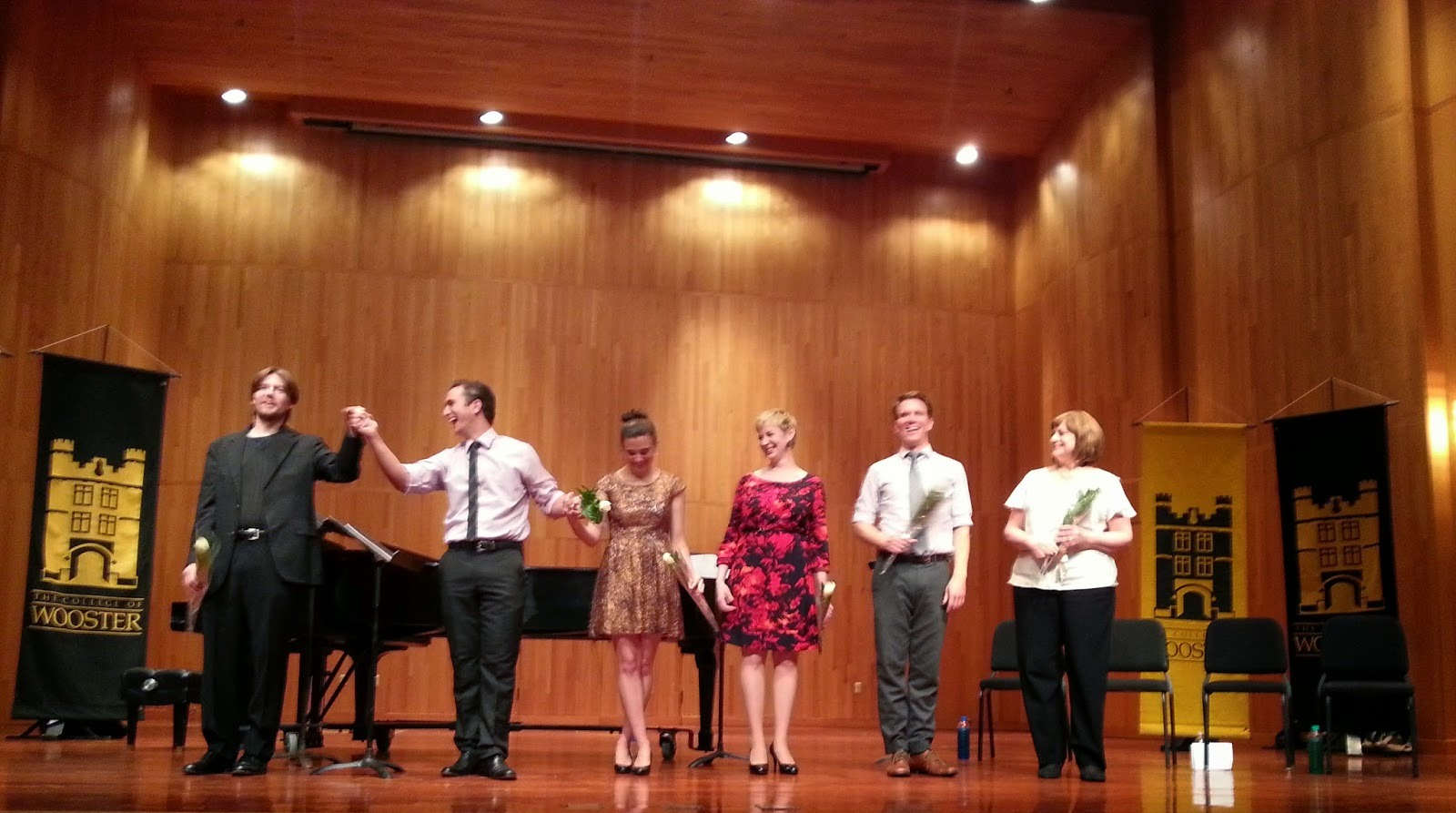 "Eric Andies, Stephen Faulk, Natalie Ballenger, Gretchen Windt, Nathan Brian, Julia Wright Costa at ""Honoring Richard Traubner"" concert."