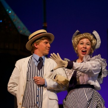 The newly fashionable towns people: Hanna Kurth as Maude (one of the Peck Daughters), and C.J. David as the Village Romeon. (Photo: Matt Dilyard/OLO)
