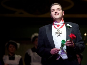 "Tenor Clark Sturdevant in the title role of ""The Little King."""