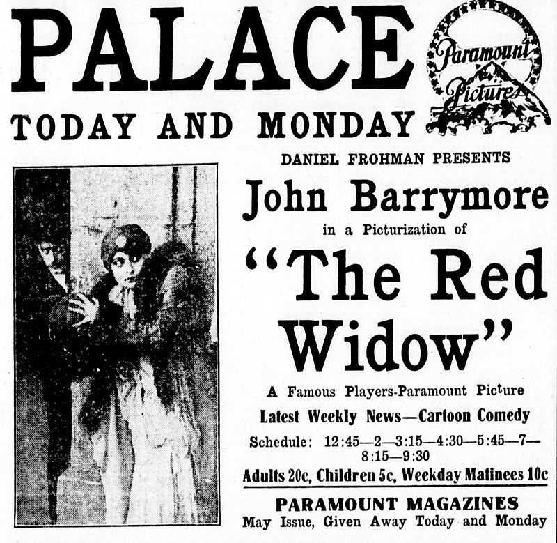 "Newspaper ad for the 1916 film version of ""The Red Widow."""