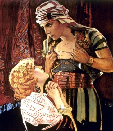 "Rudolph Valentino as ""The Sheik"" and ""Son of the Sheik"" was direct role model for The Red Shadow."""