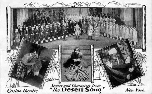 "Scenes from the original Broadway version of ""The Desert Song."""
