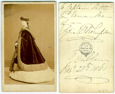 "Photograph of Lydia Thompson, signed on verso "" To Captain Little in Remembrance of- Lydia Thompson, Dublin, Nov 28, 1861. Backmark of Granfield, Dublin"